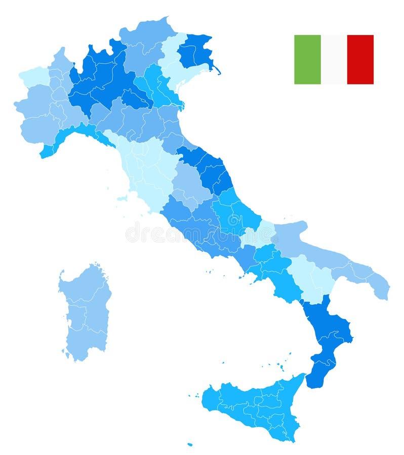 意大利管理部门映射在白隔绝的蓝色没有文本 皇族释放例证