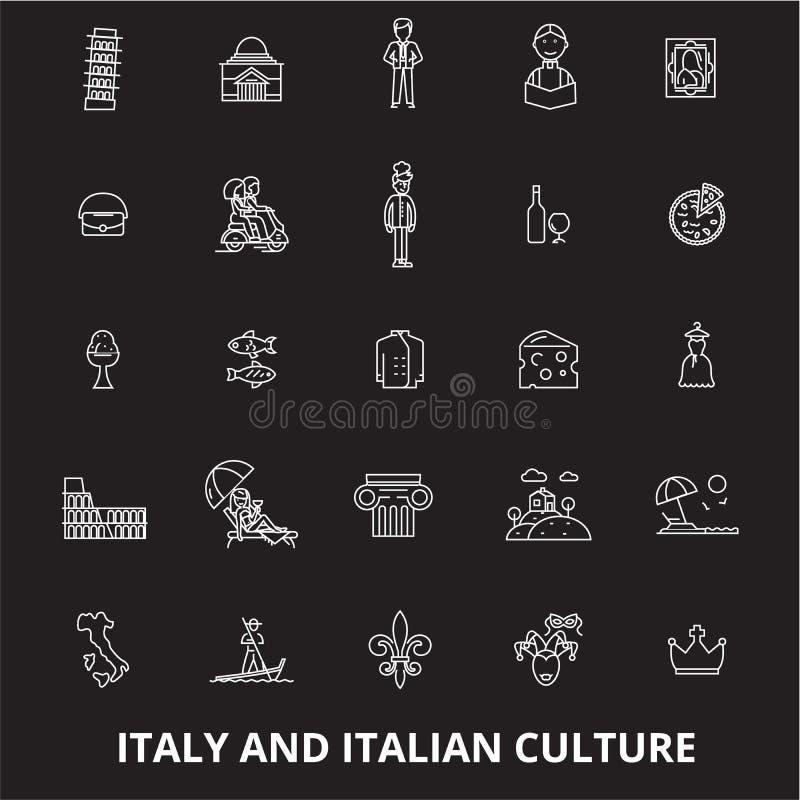 意大利编辑可能的线象导航在黑背景的集合 意大利白色概述例证,标志,标志 皇族释放例证