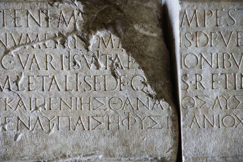 意大利罗马脚本石头 库存照片