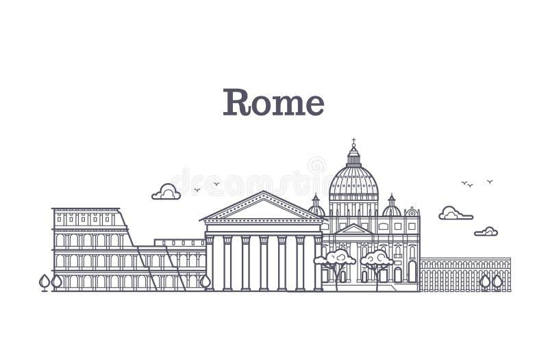 意大利罗马建筑学,欧洲地平线传染媒介线性收藏 向量例证