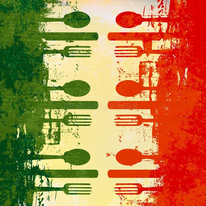 意大利菜单模板 皇族释放例证