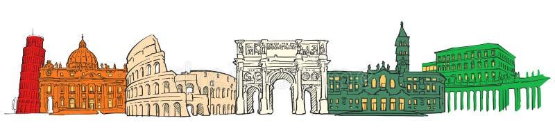 意大利著名旅行象横幅 向量例证