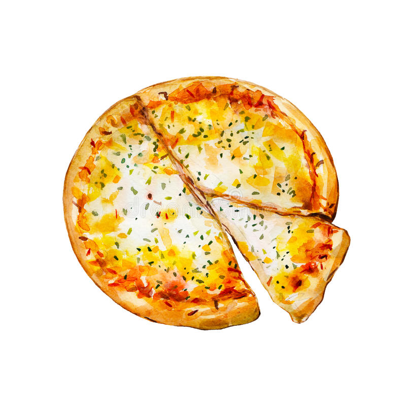 意大利薄饼用乳酪,水彩例证 向量例证