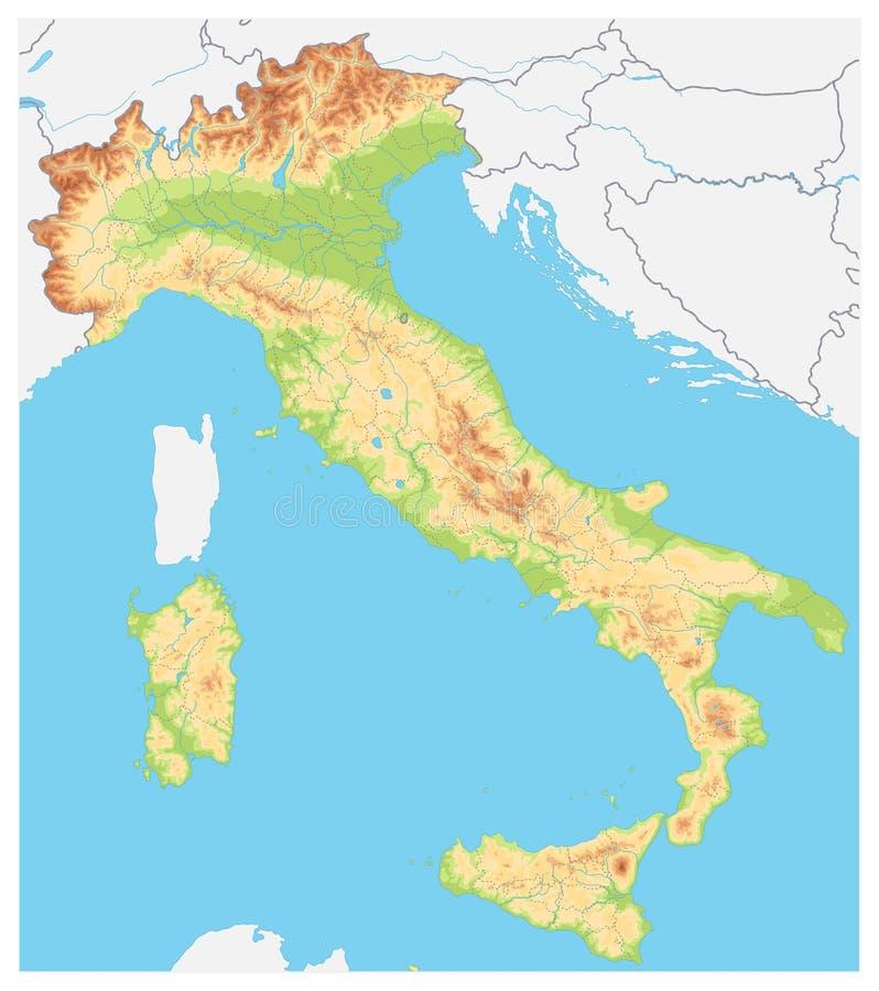 意大利详述了物理地图-没有文本 向量例证