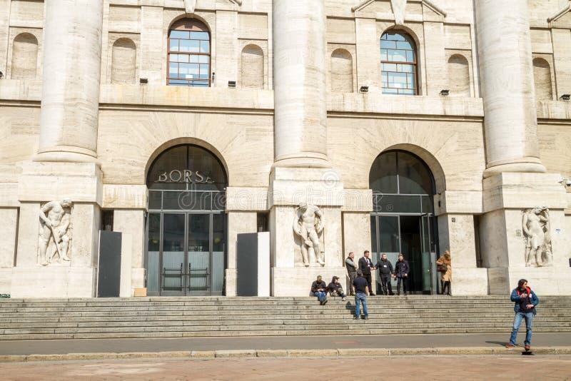 意大利语联交所Borsa Italiana在米兰,意大利 库存图片