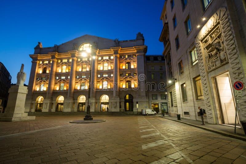 意大利语联交所Borsa Italiana在米兰,意大利 免版税库存照片