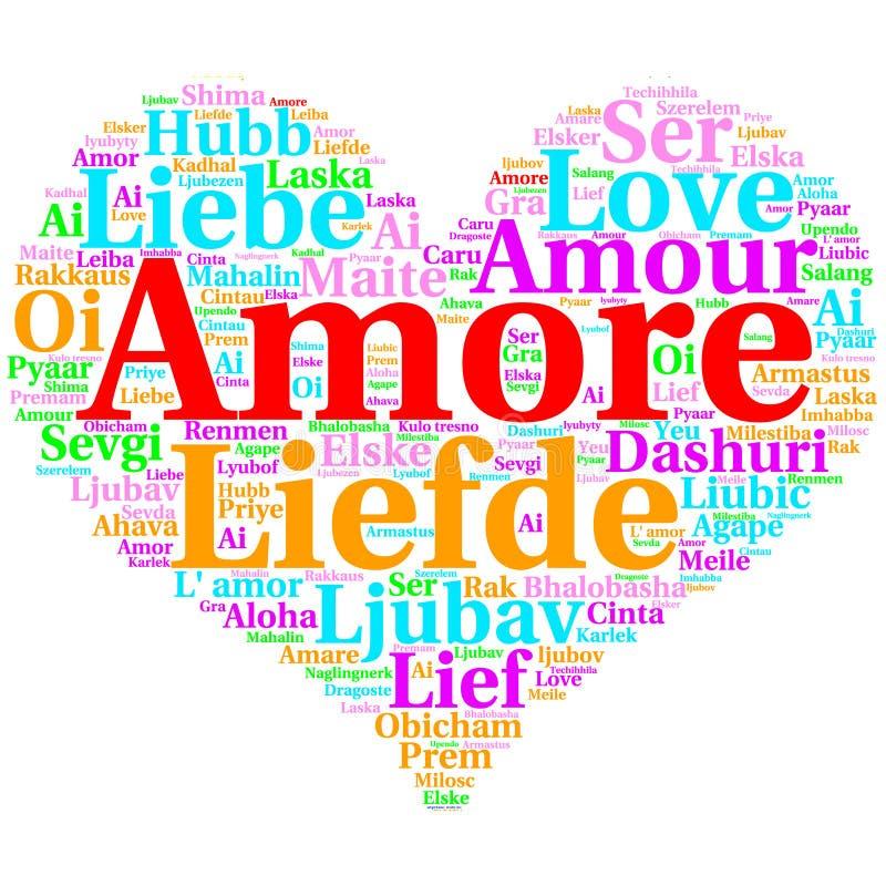 意大利语:Amore 心形的词云彩爱,在白色 向量例证