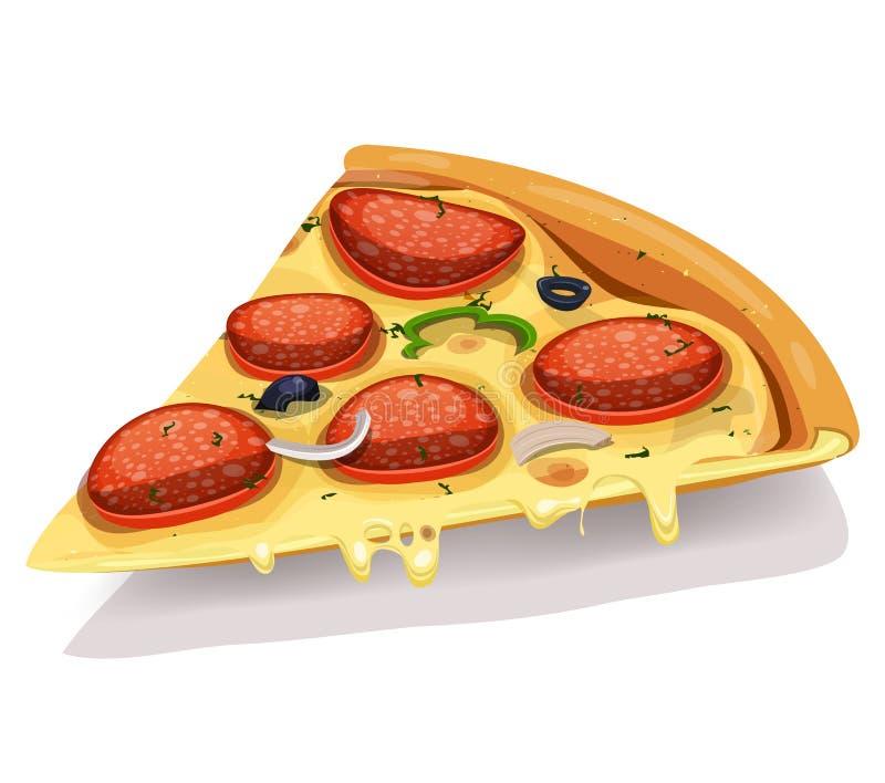 意大利辣味香肠低贱薄饼零件 向量例证