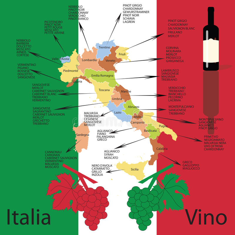 意大利酒地图。 库存例证