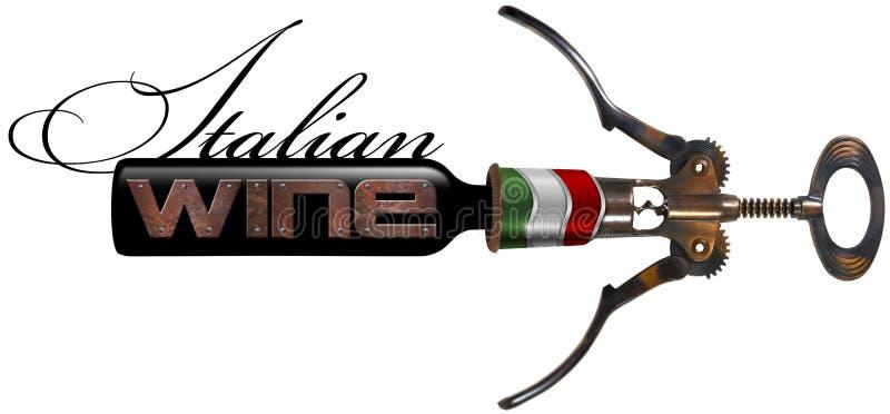 意大利酒-拔塞螺旋和瓶 库存例证