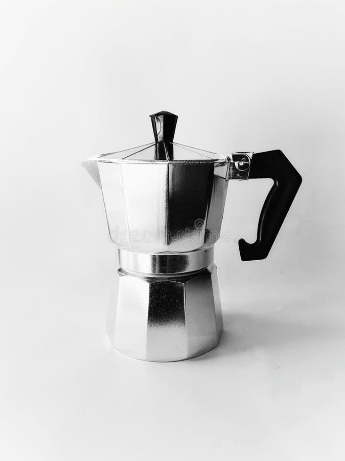 意大利铝咖啡mocca水壶 免版税库存图片
