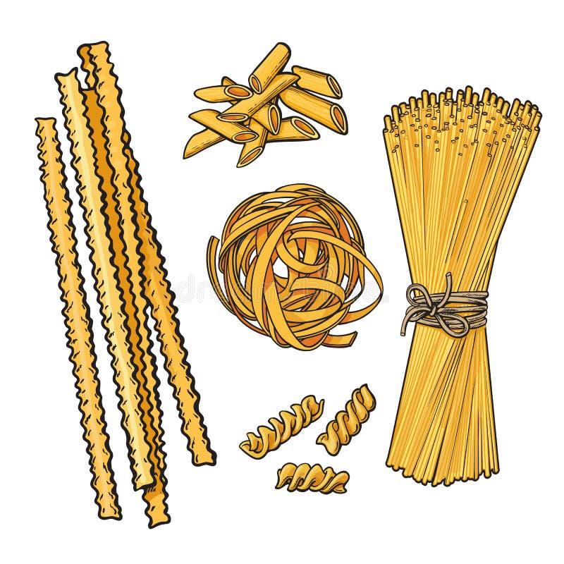 意大利面团剪影样式传染媒介例证的大收藏 库存例证