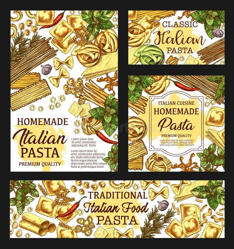 意大利面团包裹,意大利烹调菜单剪影 库存例证