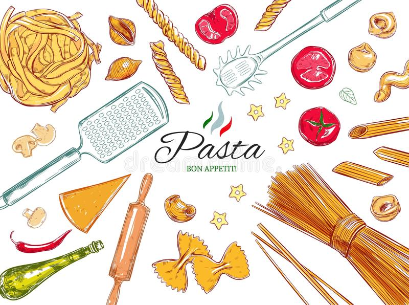 意大利面团集合 意大利面食的不同的类型 向量手拉的例证 在白色的对象 五颜六色 向量例证