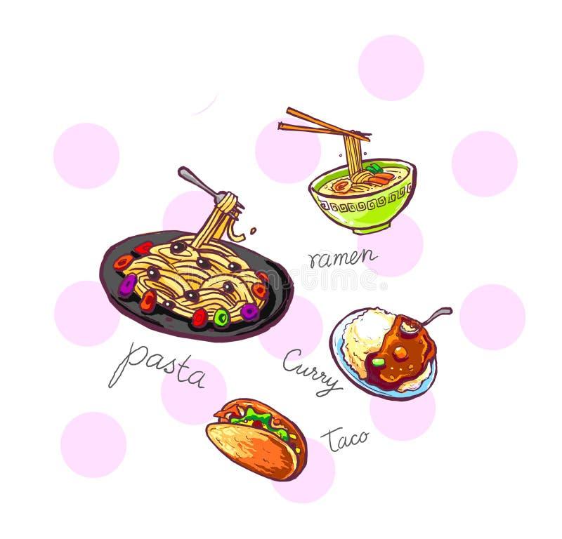 意大利面食面条咖喱炸玉米饼食物例证   皇族释放例证