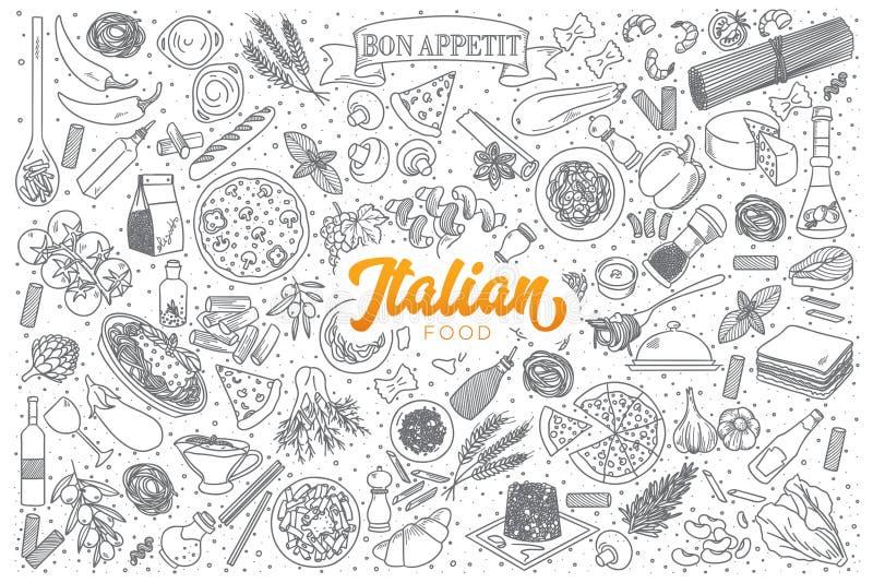 意大利食物乱画设置与橙色字法 库存例证