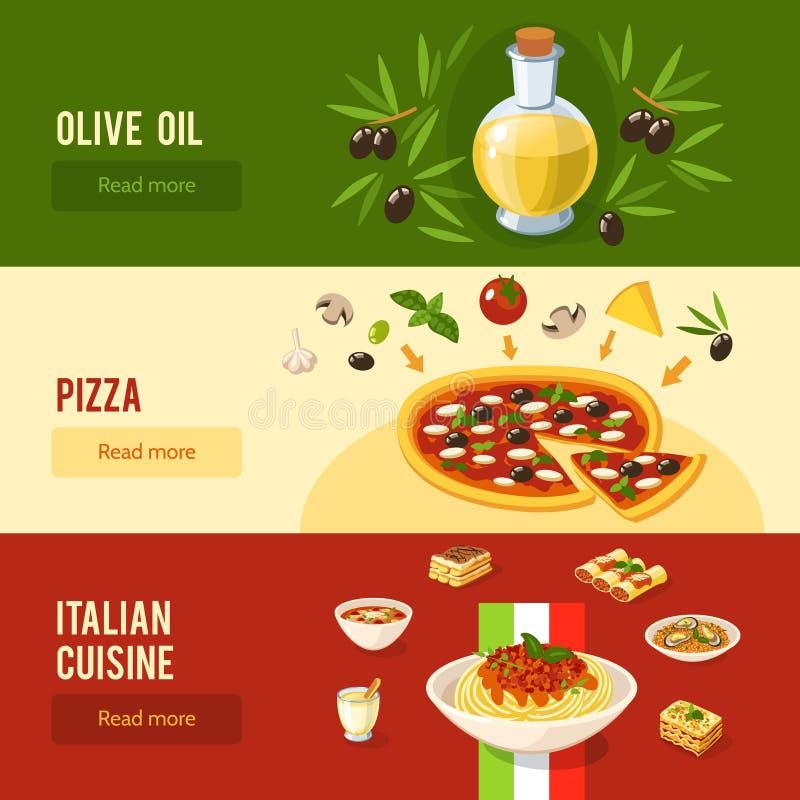 意大利食物横幅集合 向量例证
