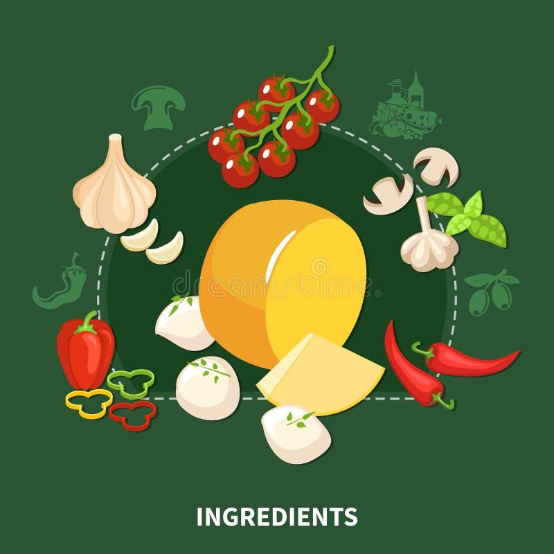 意大利食物绿色背景 皇族释放例证