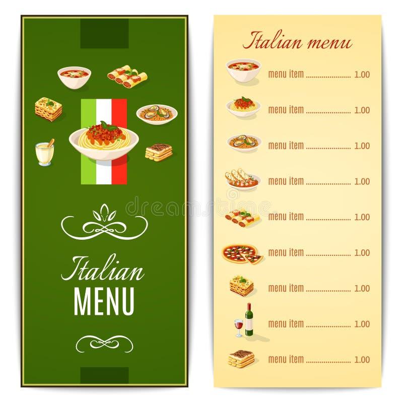 意大利食物菜单 皇族释放例证