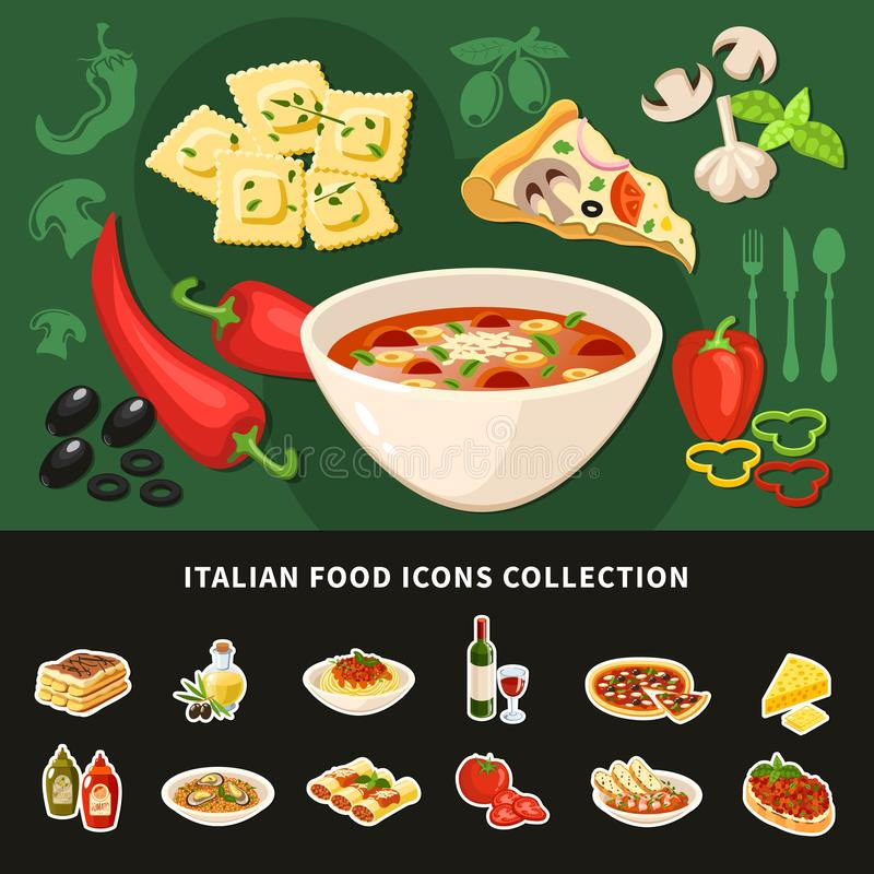 意大利食物象收藏 库存例证