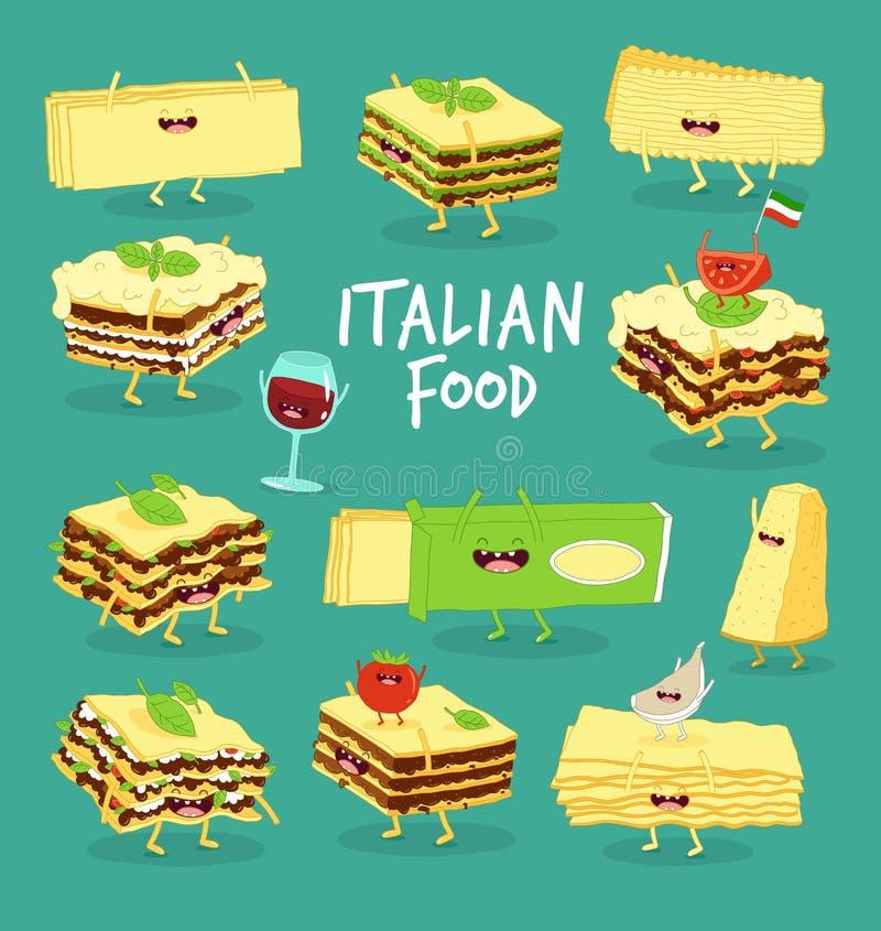 意大利食物集合 烤宽面条、乳酪和酒 是能设计员每个evgeniy图象独立kotelevskiy对象原来的向量 向量例证