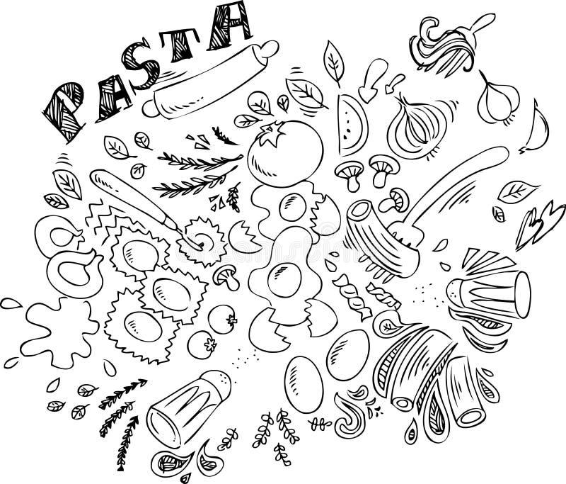 意大利食物:面团 向量例证