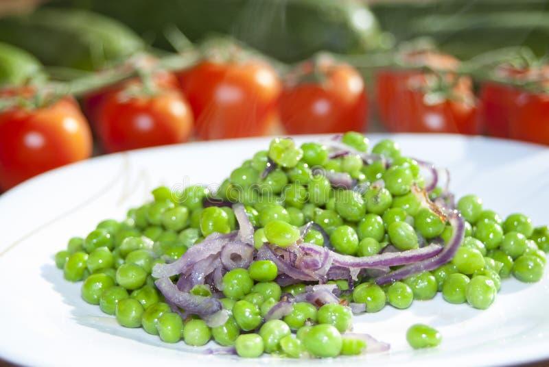 豌豆和葱 免版税库存照片