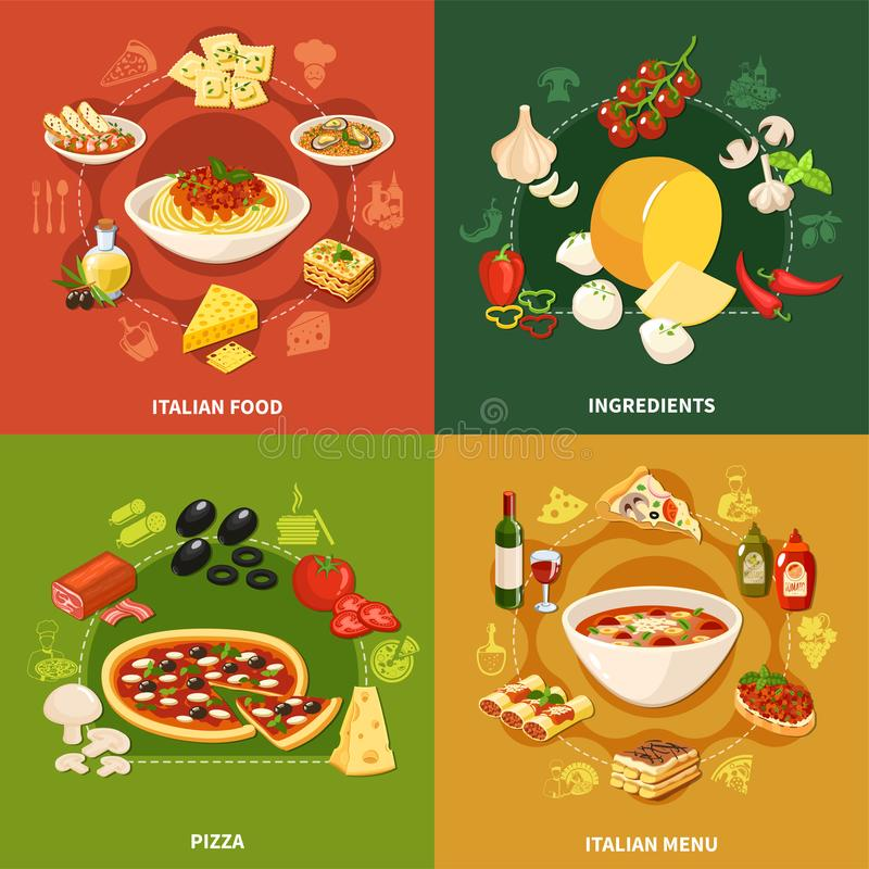 意大利食物2x2设计观念 皇族释放例证