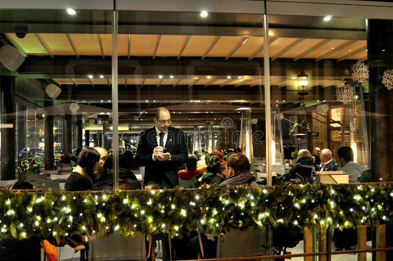 意大利餐馆在晚上,佛罗伦萨,意大利 库存照片