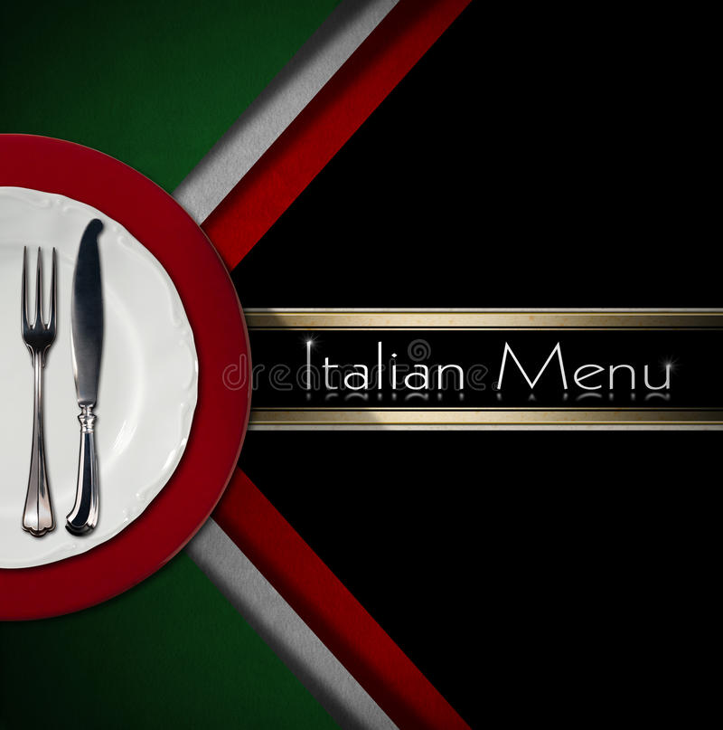 意大利餐馆菜单设计 皇族释放例证