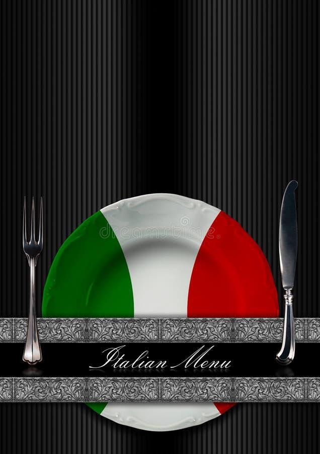 意大利餐馆菜单设计 向量例证