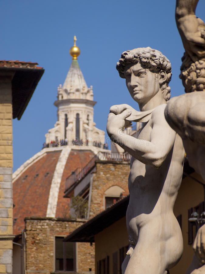 意大利,佛罗伦萨, Signoria广场,大卫雕象  库存图片