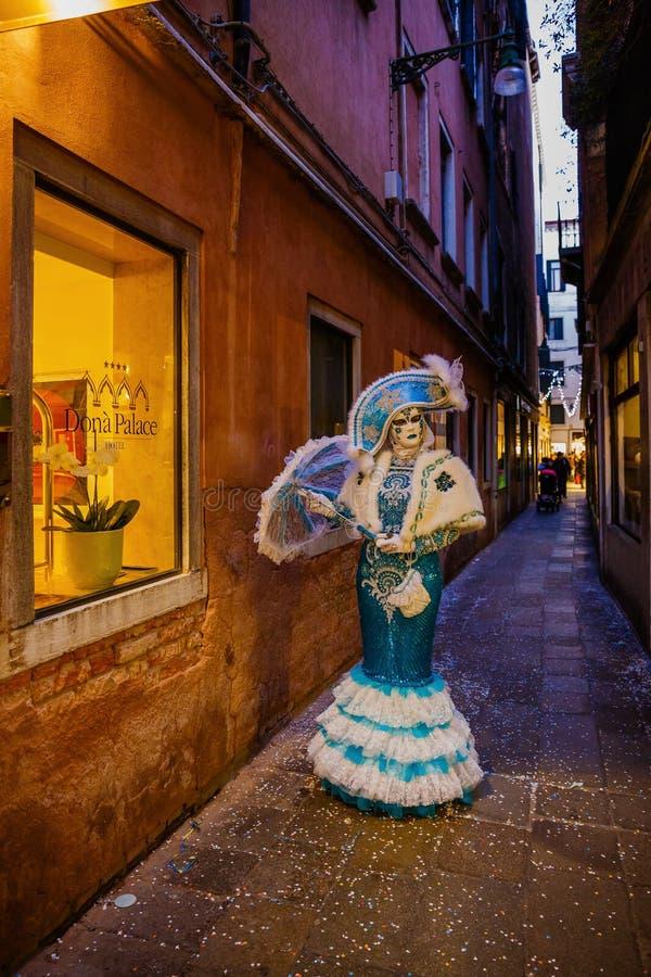 意大利,威尼斯, 2017年2月25日 一名妇女的画象carni的 免版税库存图片