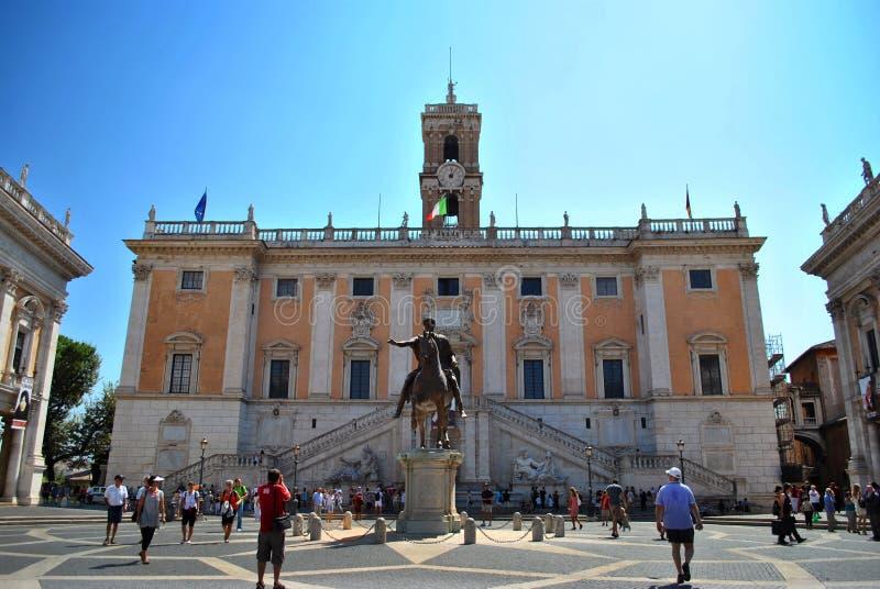 piazza del Campidoglio在罗马 免版税库存照片