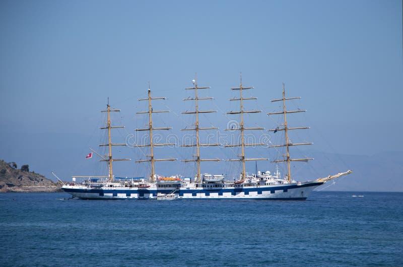 意大利,西西里岛 美丽的船看法  免版税库存照片