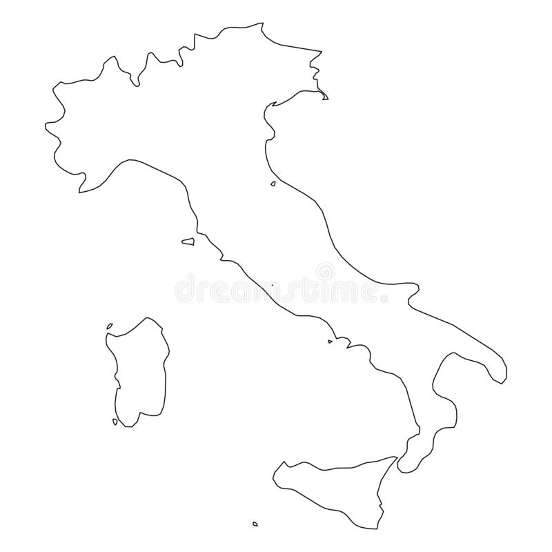 意大利-国家区域坚实黑概述边界地图  简单的平的传染媒介例证 库存例证