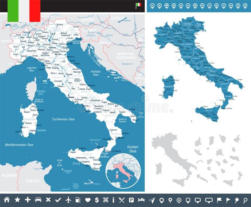 意大利-地图和旗子- infographic例证 向量例证