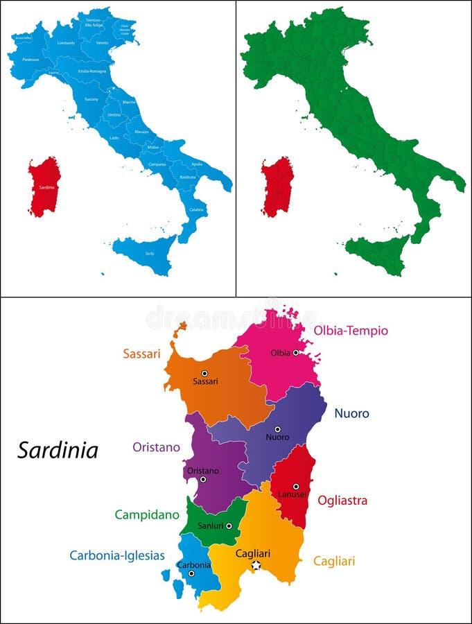 意大利-撒丁岛的地区 向量例证