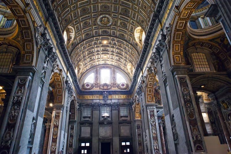意大利 罗马 梵蒂冈 大教堂彼得s st 室内看法 库存图片