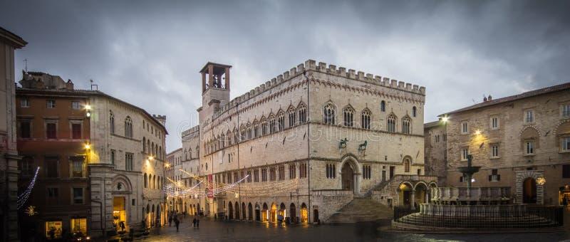 意大利主要佩鲁贾广场 免版税库存图片
