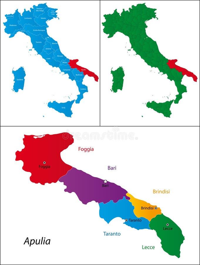 意大利- Apulia的地区 向量例证
