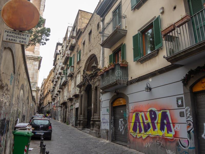 意大利napoli 传统街道看法在市的历史的中心那不勒斯 库存照片