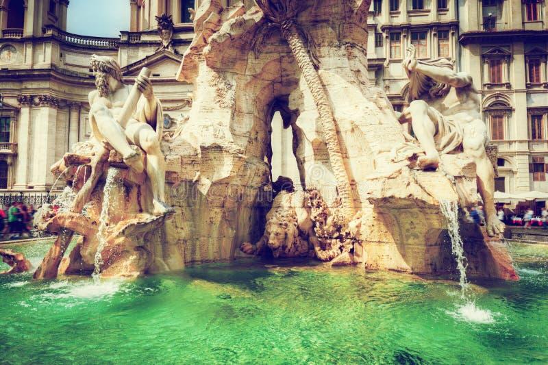 意大利navona广场罗马 喷泉四河 库存图片