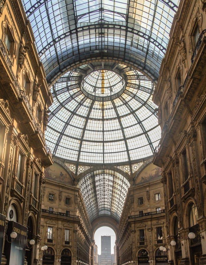 意大利Vittorio Emanuele Milano画廊内 免版税库存照片