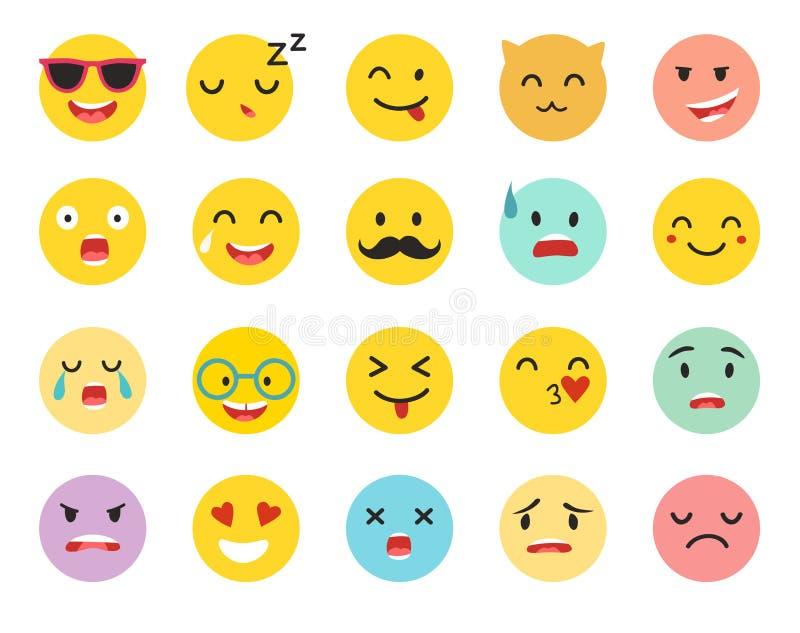 意思号导航集合 Emoji象,黄色圈子例证 库存例证