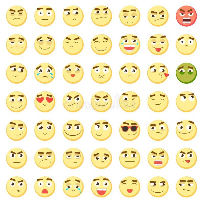意思号集合 emoji的汇集 3d意思号 在白色背景隔绝的兴高采烈的面孔象 向量 库存例证