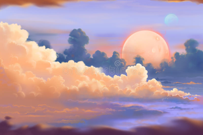 意想不到和异乎寻常的亚伦行星环境:Cloudscape 皇族释放例证