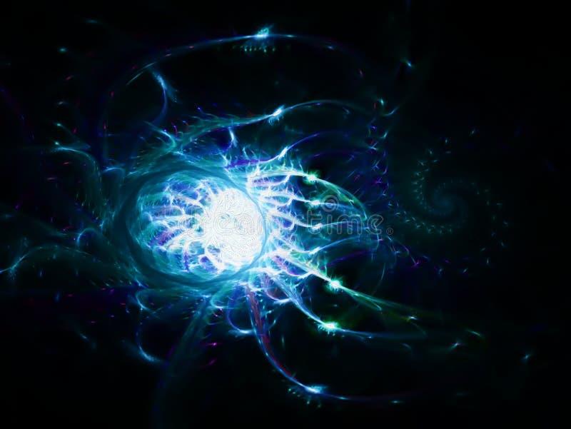 意想不到地与包括泡影和星云的一个复杂结构的透亮抽象空间星云 分数维艺术 向量例证