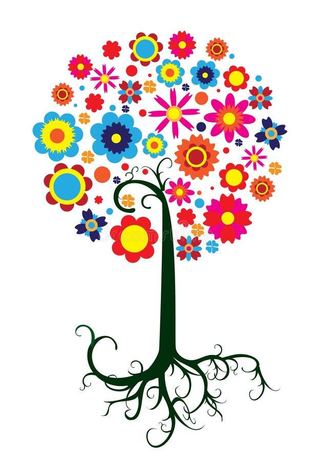 意想不到的五颜六色的树 向量例证