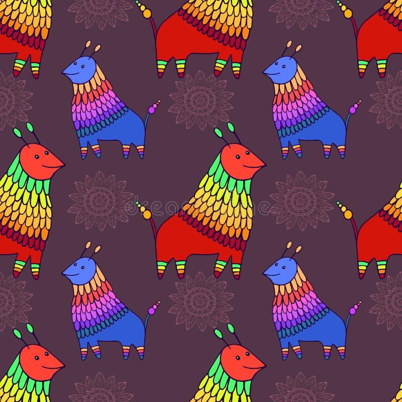 意想不到的动物字符无缝的样式 滑稽的乱画动画片生物不尽的纹理 皇族释放例证